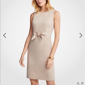 Ann Taylor 6 Cotton Sateen Tie-front Sheath Dress